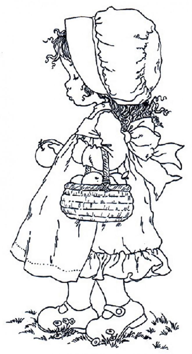 Coloriage et dessins gratuits Sarah Kay collecte des pommes à imprimer