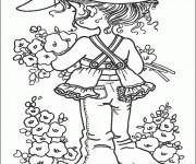 Coloriage Sarah Kay cueille des fleurs