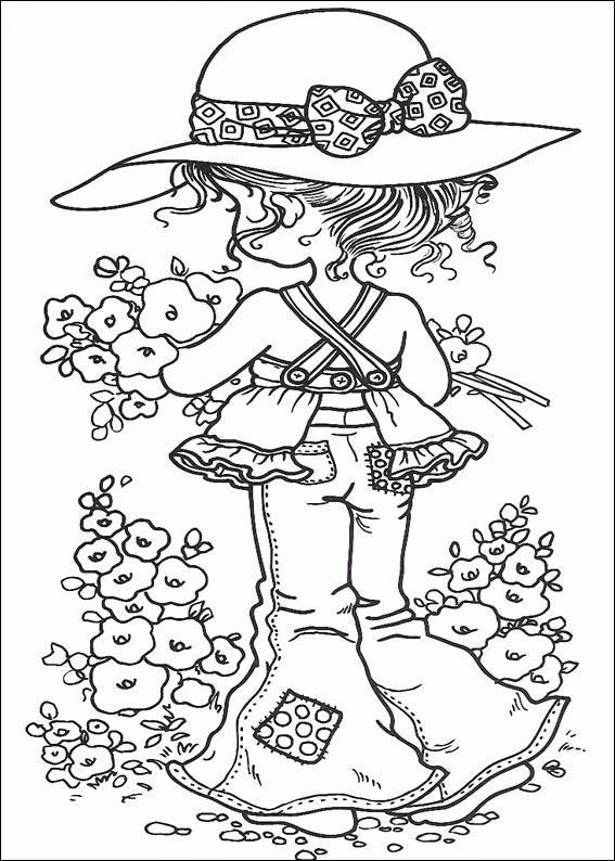 Coloriage et dessins gratuits Sarah Kay cueille des fleurs à imprimer