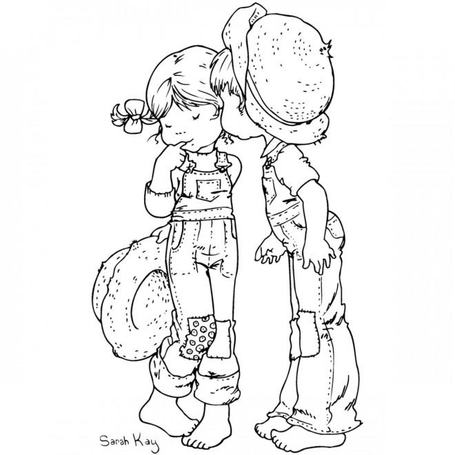 Coloriage et dessins gratuits Sarah Kay et son ami à imprimer