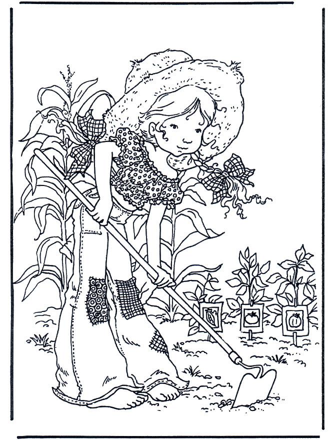 Coloriage et dessins gratuits Sarah Kay fait du jardinage à imprimer