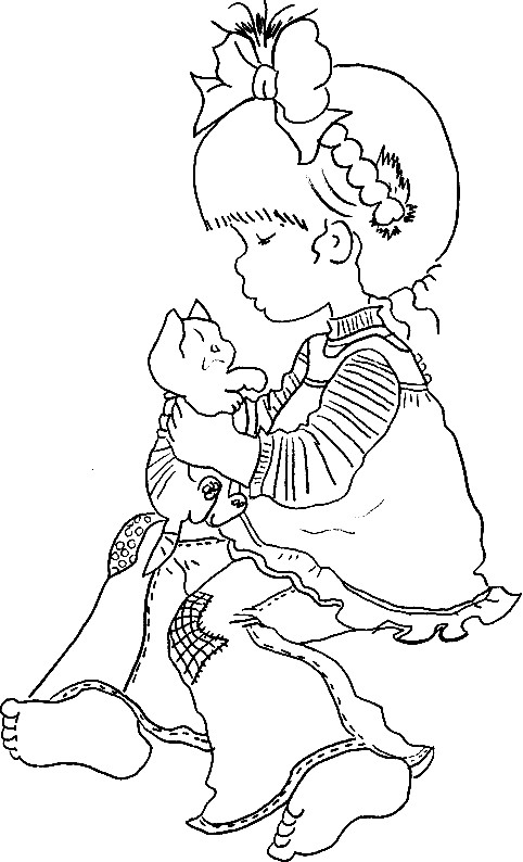 Coloriage et dessins gratuits Sarah Kay joue avec son chat à imprimer
