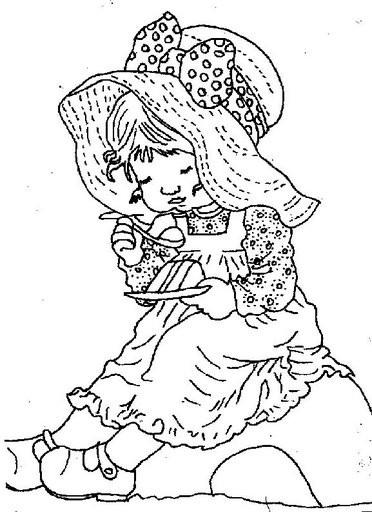 Coloriage et dessins gratuits Sarah Kay mange du gateau à imprimer
