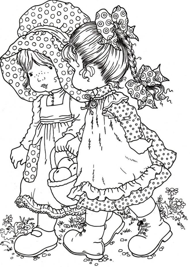 Coloriage et dessins gratuits Sarah Kay se promène avec son amie à imprimer