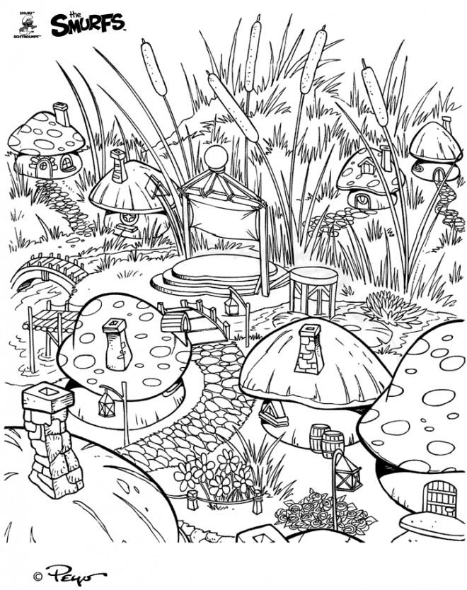 Coloriage schtroumpf le vilage gratuit dessin gratuit - Coloriage village de noel ...