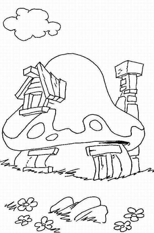 Coloriage la maison des schtroumpfs dessin gratuit imprimer - Dessiner un champignon ...