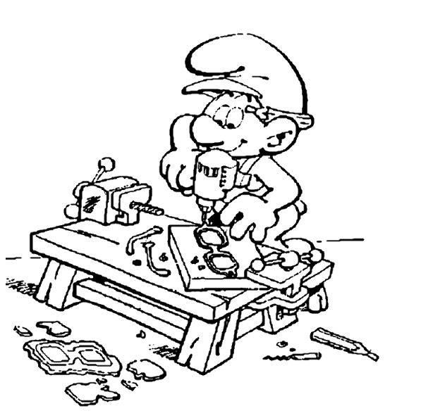 Coloriage et dessins gratuits Schtroumpf bricoleur au travail à imprimer