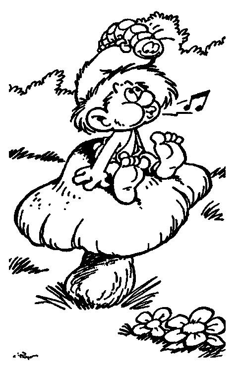 Coloriage et dessins gratuits Schtroumpf chante à imprimer