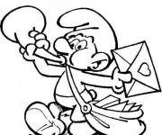 Coloriage et dessins gratuit Schtroumpf envoie des lettres à imprimer