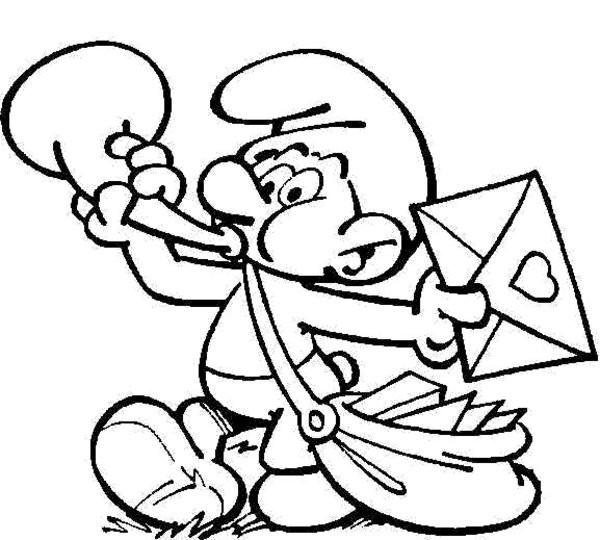 Coloriage Schtroumpf envoie des lettres dessin gratuit à ...