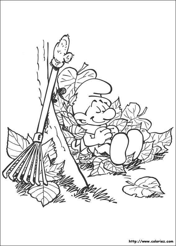 Coloriage et dessins gratuits Schtroumpf jardinier à imprimer
