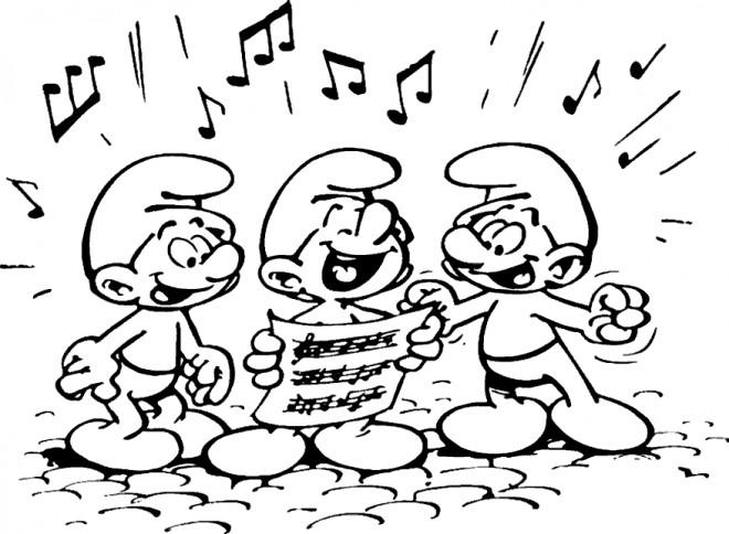Coloriage et dessins gratuits Schtroumpf musicien à imprimer