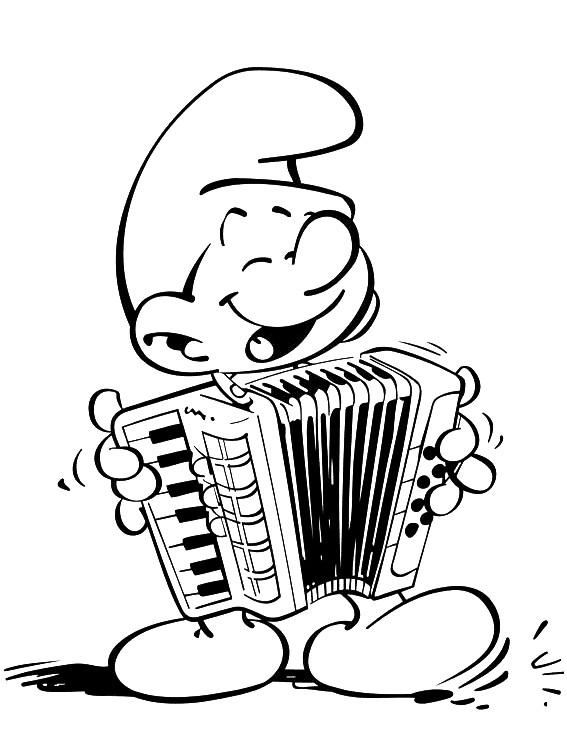 Coloriage et dessins gratuits Schtroumpf musicien gratuit à imprimer