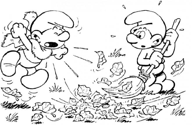 Coloriage et dessins gratuits Schtroumpf nettoie le jardin à imprimer
