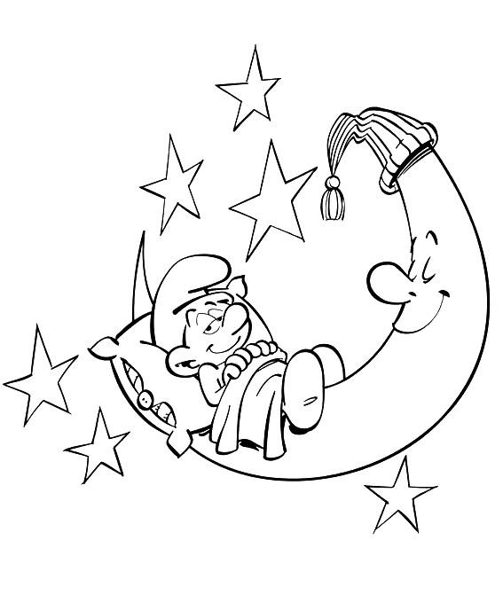 Coloriage et dessins gratuits Schtroumpf se prépare à dormir à imprimer