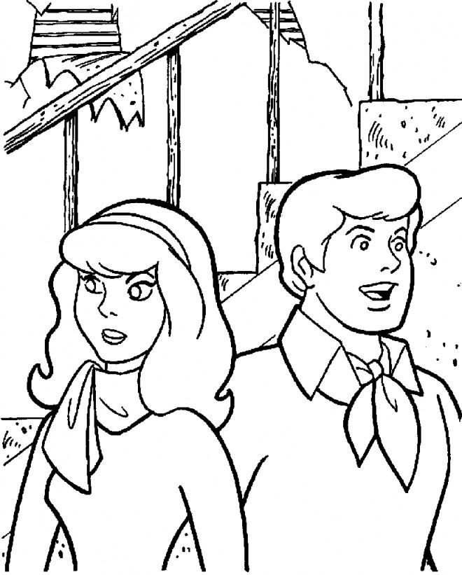 Coloriage et dessins gratuits Scooby doo Daphné et Fred à imprimer
