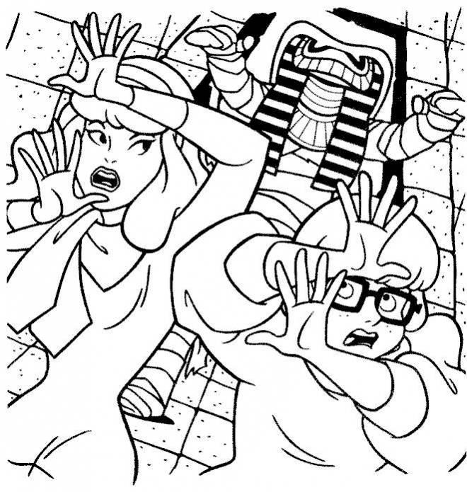 Coloriage et dessins gratuits Scooby doo Daphné et Verra en fuite à imprimer
