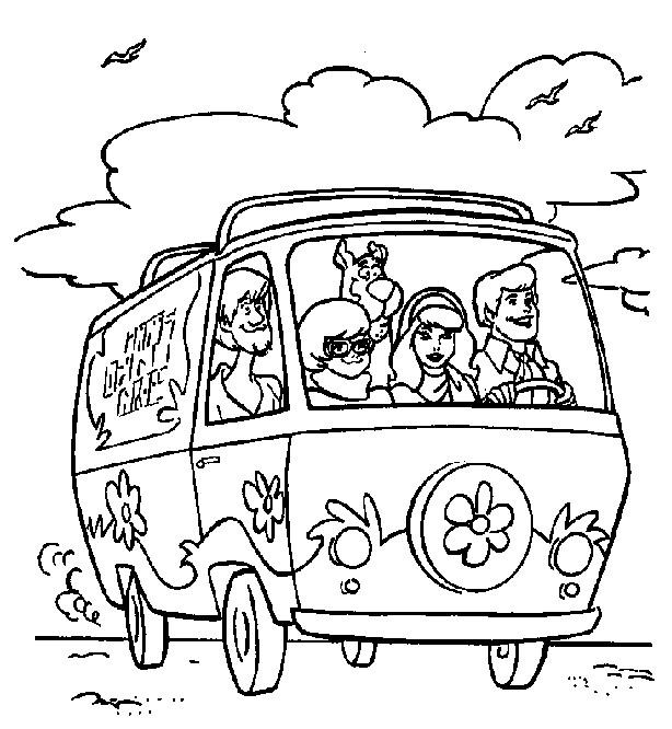 Coloriage et dessins gratuits Scooby doo en voiture à imprimer