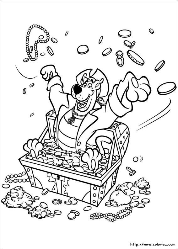 Coloriage et dessins gratuits Scooby doo entouré par des pièces d'or à imprimer