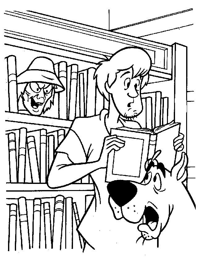 Coloriage et dessins gratuits Scooby doo et Sammy en bibliothèque à imprimer