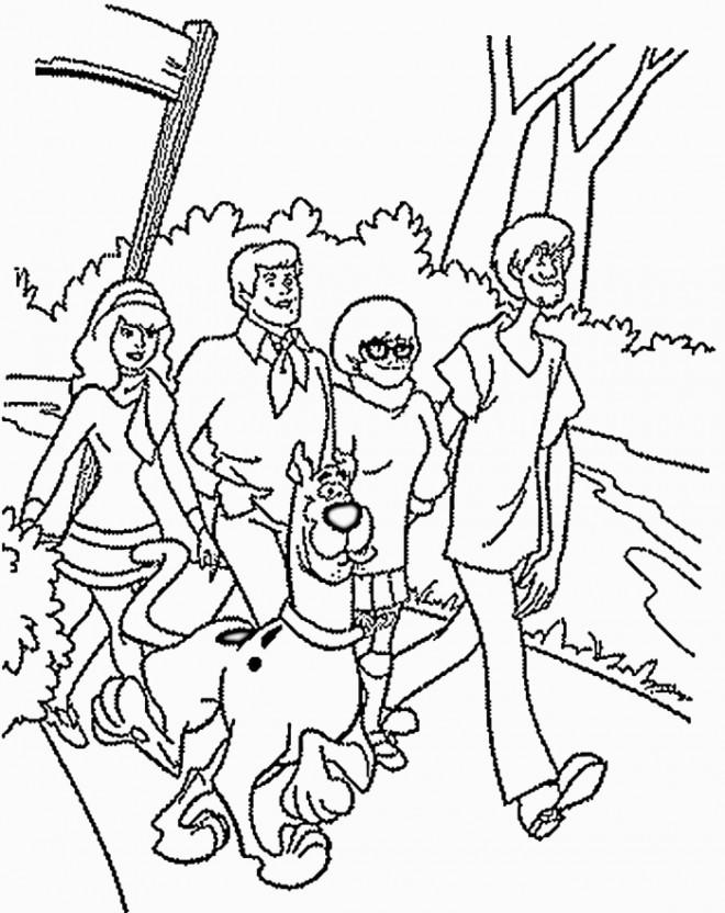 Coloriage et dessins gratuits Scooby doo et ses amis en nature à imprimer