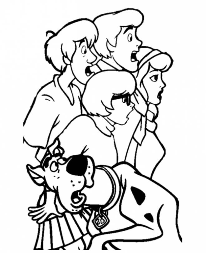 Coloriage et dessins gratuits Scooby doo et ses amis sont supris à imprimer