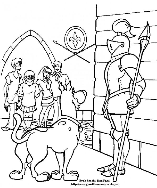 Coloriage et dessins gratuits Scooby doo parle avec un soldat à imprimer