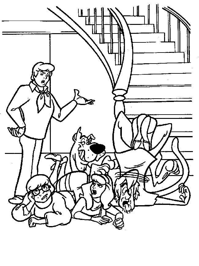 Coloriage Scooby doo tombe de l'escalier dessin gratuit à imprimer