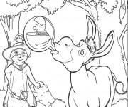 Coloriage L'âne  de Shrek boit la potion