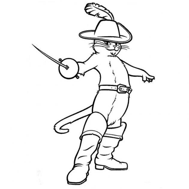 Coloriage et dessins gratuits Le chat potté tient une épée à imprimer
