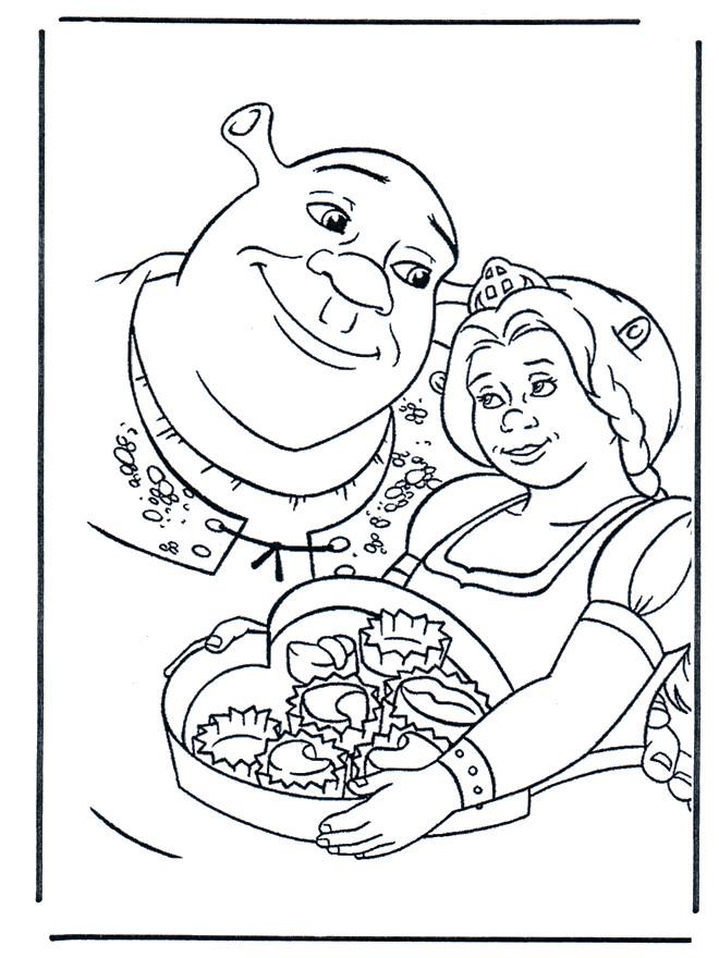 Coloriage et dessins gratuits Les amoureux Shrek et Fiona à imprimer