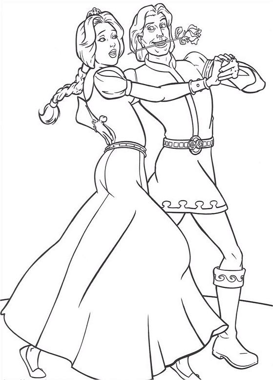 Coloriage et dessins gratuits Prince charmant et Fiona: Shrek à imprimer
