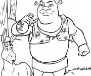 Coloriage Shrek boit la potion