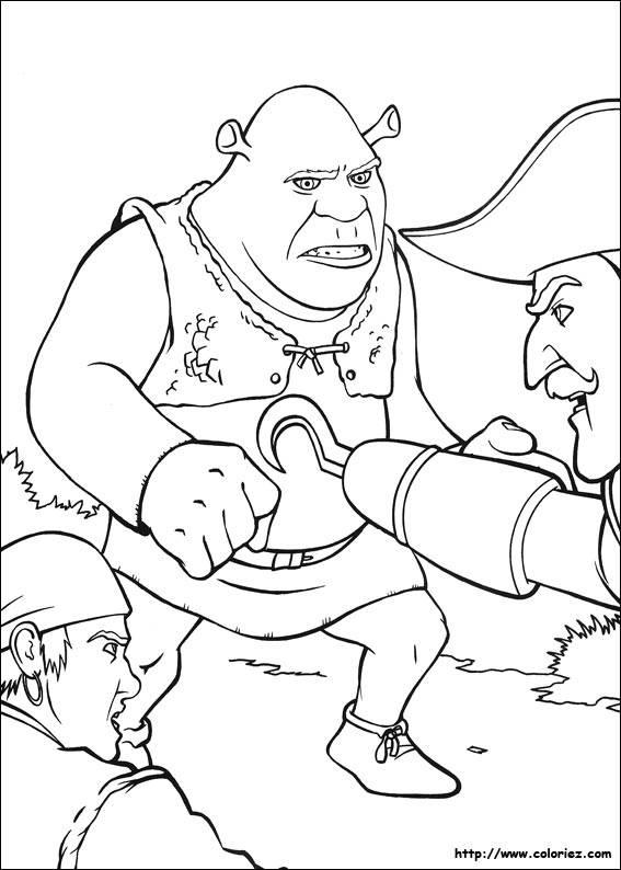 Coloriage et dessins gratuits Shrek contre les paysans à imprimer
