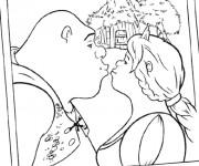 Coloriage et dessins gratuit Shrek embrasse Fiona à imprimer