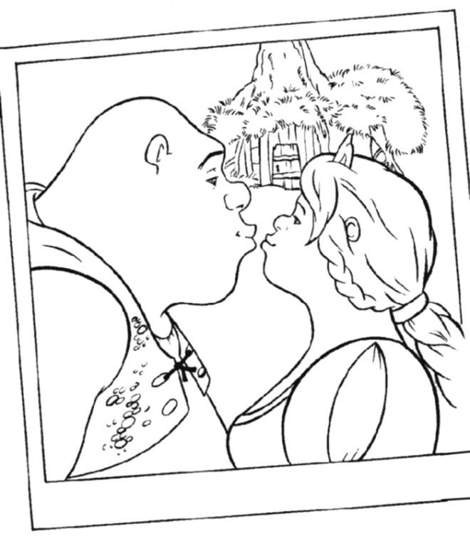 Coloriage et dessins gratuits Shrek embrasse Fiona à imprimer