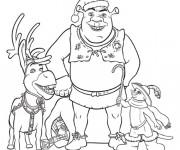 Coloriage et dessins gratuit Shrek en Noël à imprimer