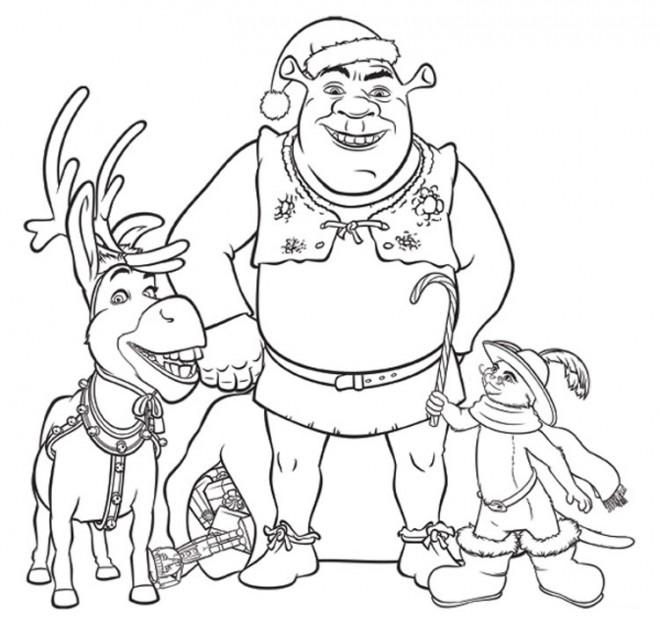 Coloriage et dessins gratuits Shrek en Noël à imprimer