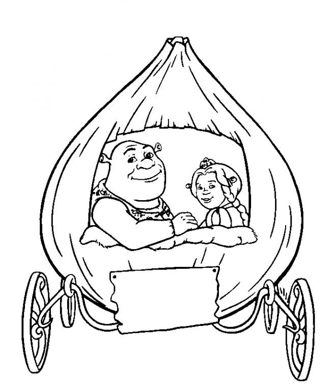 Coloriage et dessins gratuits Shrek et Fiona à imprimer
