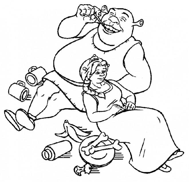 Coloriage et dessins gratuits Shrek et fiona dîne ensemble à imprimer