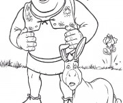 Coloriage et dessins gratuit Shrek et l'âne surpris à imprimer