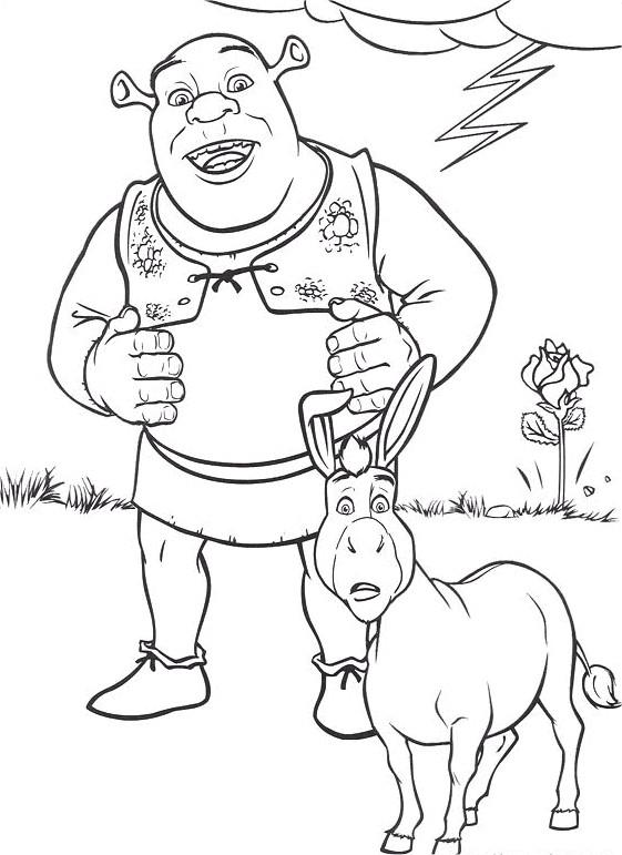Coloriage et dessins gratuits Shrek et l'âne surpris à imprimer