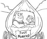 Coloriage Shrek et La princess sont mariés