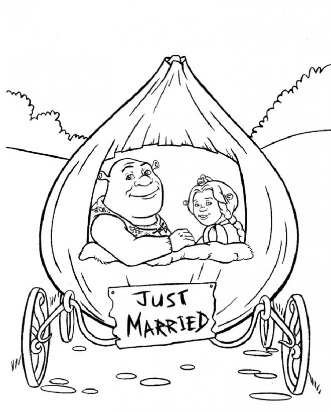 Coloriage et dessins gratuits Shrek et La princess sont mariés à imprimer
