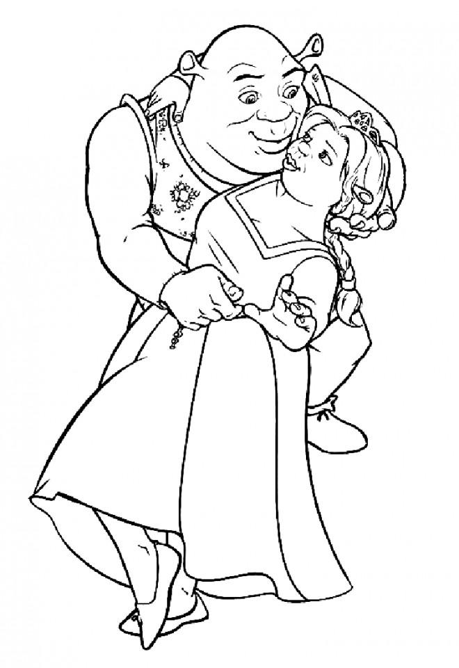 Coloriage et dessins gratuits Shrek et la princesse dansent à imprimer