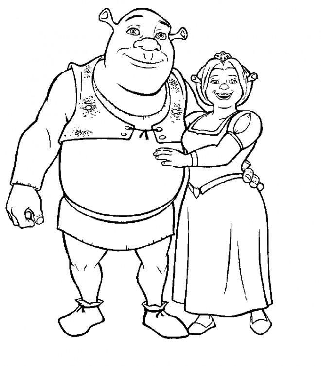 Coloriage et dessins gratuits Shrek et la princesse Fiona à imprimer