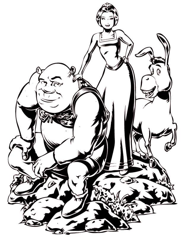Coloriage et dessins gratuits Shrek et sa famille à imprimer
