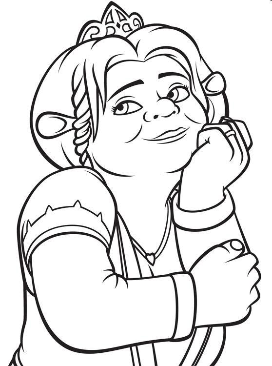 Coloriage et dessins gratuits Shrek : Fiona entrain de rêver à imprimer