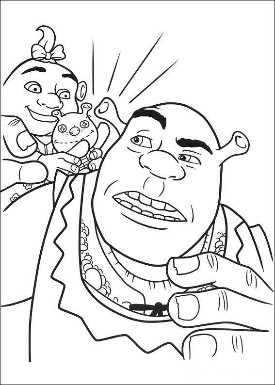 Coloriage et dessins gratuits Shrek joue avec sa fille à imprimer