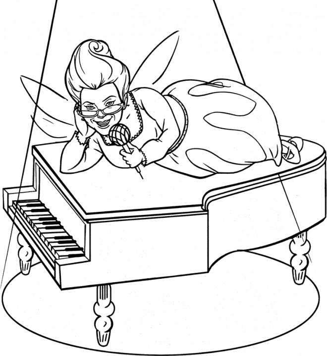 Coloriage et dessins gratuits Shrek: La fée entrain de chanter à imprimer